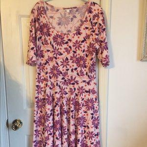 Lularoe pink purple flower Nicole dress xxl plus